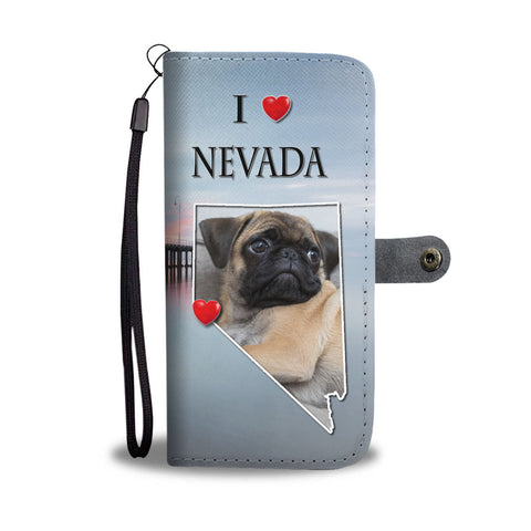 Cute Pug Dog Print Wallet CaseNV State