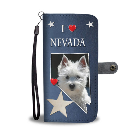 Cute West Highland White Terrier Print Wallet CaseNV State