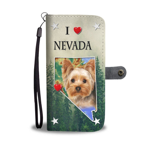 Cute Yorkshire Terrier Print Wallet CaseNV State