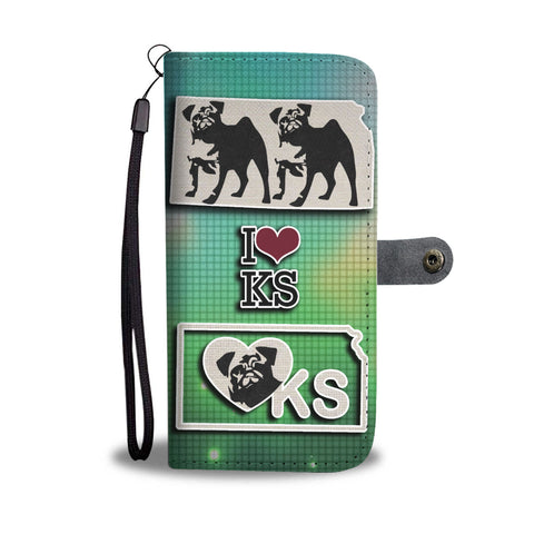 Pug Dog Art Print Wallet CaseKS State
