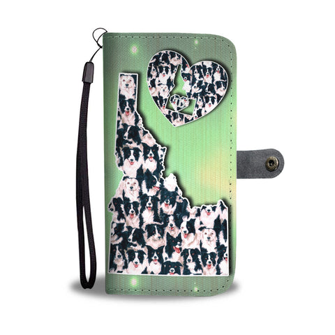 Border Collie Dog In Lots Print Wallet CaseID State