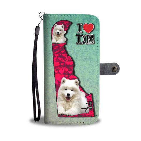 Cute Samoyed Dog Print Wallet CaseDE State