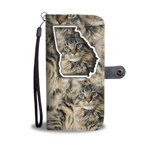 Maine Coon Cat Print Wallet CaseGA State
