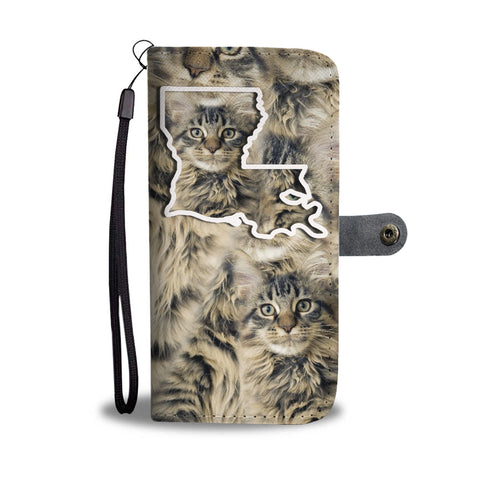 Maine Coon Cat Print Wallet CaseLA State