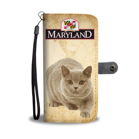 British Shorthair Cat Print Wallet CaseMD State