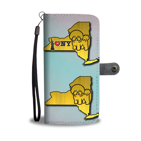 Cute Bichon Fries Dog Art Print Wallet CaseNY State
