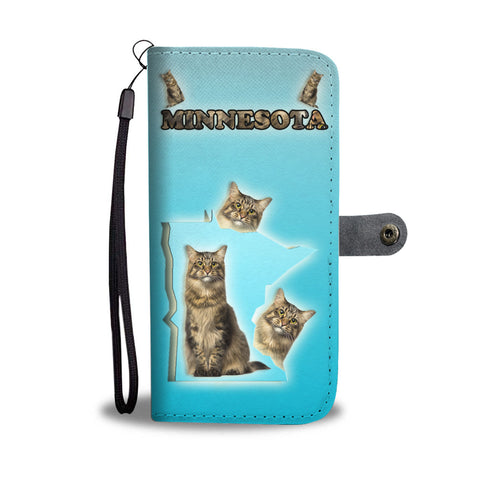 Maine Coon Cat Print Wallet CaseMN State
