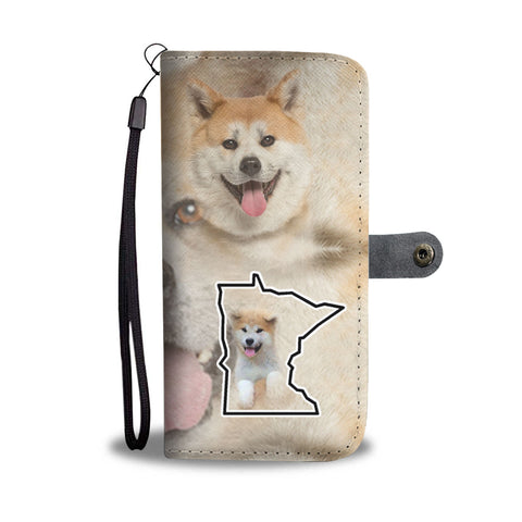 Akita Dog Print Wallet CaseMN State