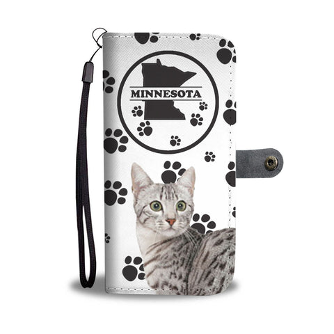 Egyptian Mau Cat Print Wallet CaseMN State