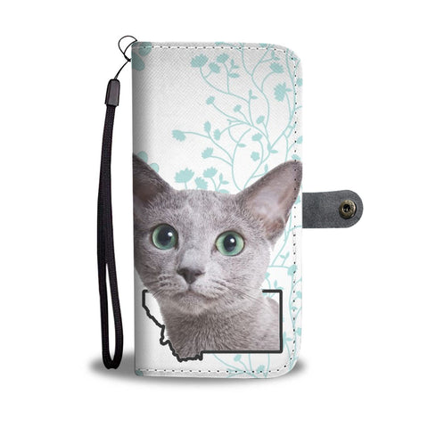 Russian Blue Cat Print Wallet CaseMT State