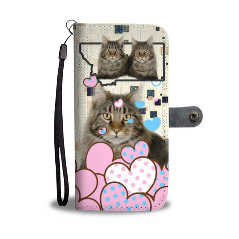Maine Coon Cat Print Wallet CaseMT State