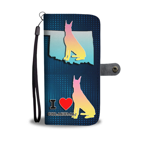 Great Dane Dog Art Print Wallet CaseOK State