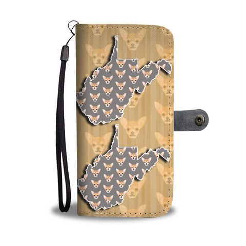 Cute Chihuahua Dog Pattern Print Wallet CaseWV State