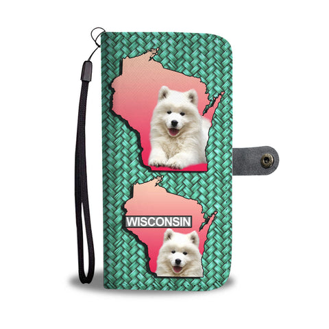 Cute Samoyed Dog Print Wallet CaseWI State