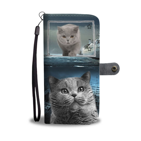 British Shorthair Cat Print Wallet CaseCO State