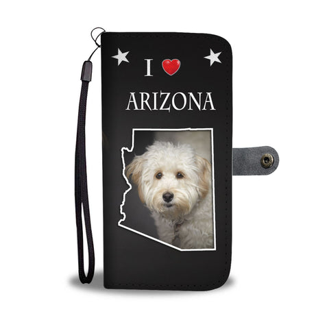 Labradoodle On Black Print Wallet CaseAZ State