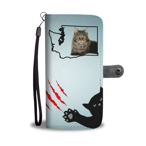 Maine Coon Cat Print Wallet CaseWA State