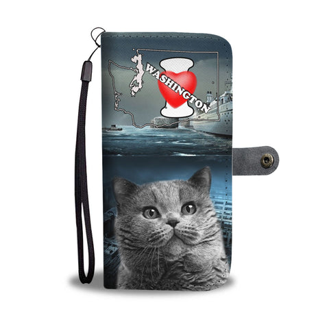 British Shorthair Cat Print Wallet CaseWA State