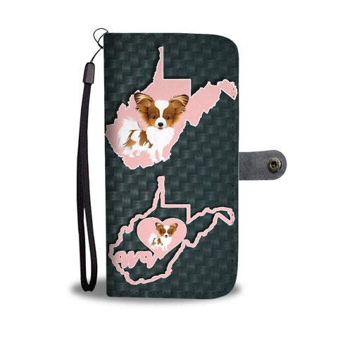 Lovely Papillon Dog Print Wallet CaseWV State