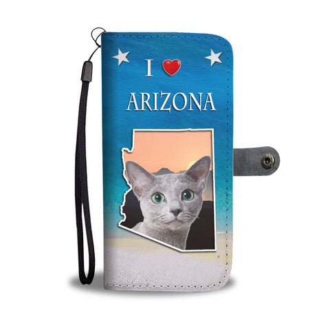 Russian Blue Cat Print Wallet CaseAZ State
