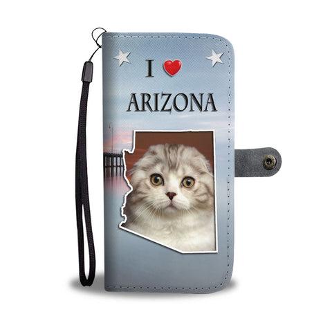 Cute Scottish Fold Cat Print Wallet CaseAZ State