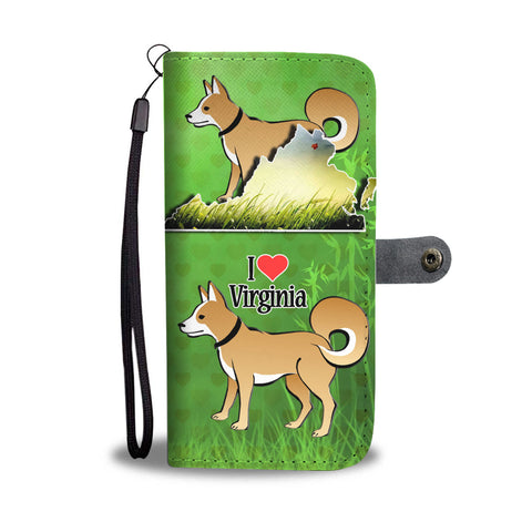 Brown Eskimo Dog Print Wallet CaseVA State
