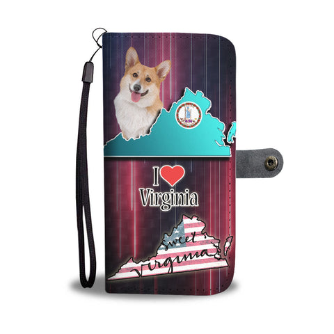 Cardigan Welsh Corgi Dog Print Wallet CaseVA State