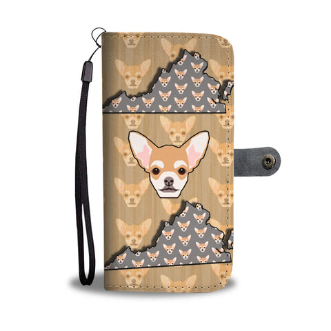 Chihuahua Dog Pattern Print Wallet CaseVA State