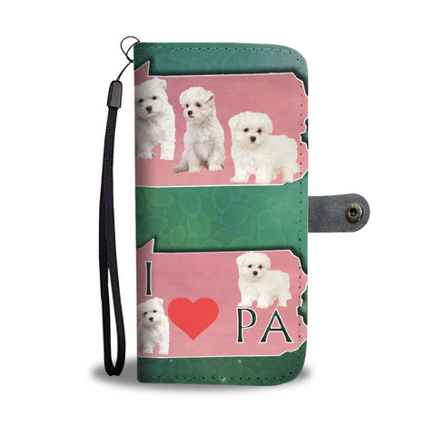 Cute Maltese Dog Print Wallet CasePA State