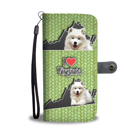 Cute Samoyed Dog Print Wallet CaseVA State