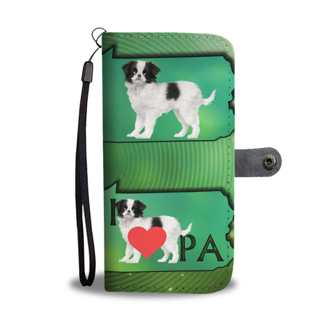 Cute Japanese Chin Pattern Print Wallet CasePA State
