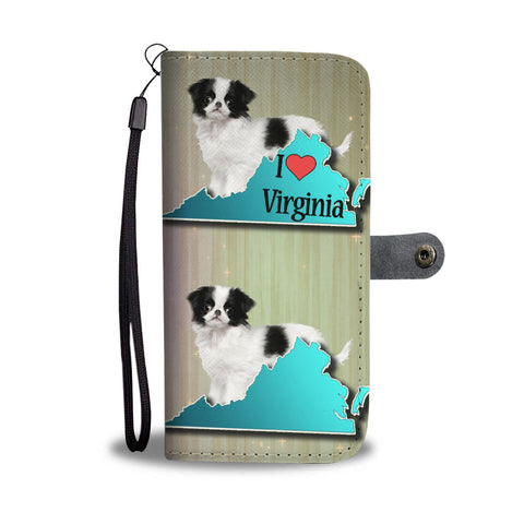 Cute Japanese Chin Dog Print Wallet CaseVA State
