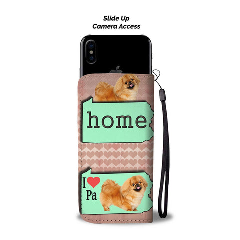 Lovely Pekingese Dog Print Wallet CasePA State