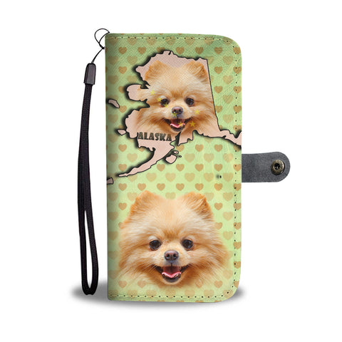 Lovely Pomeranian Dog Print Wallet CaseAK State