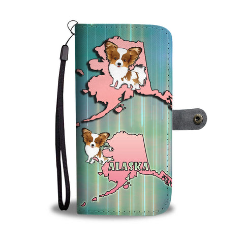 Cute Papillon Dog Art Print Wallet CaseAK State