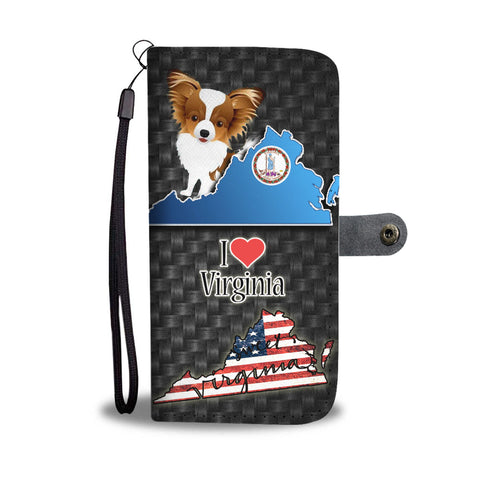 Papillon Dog Art Print Wallet CaseVA State