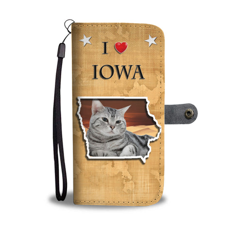 American Shorthair Cat Print Wallet CaseIA State