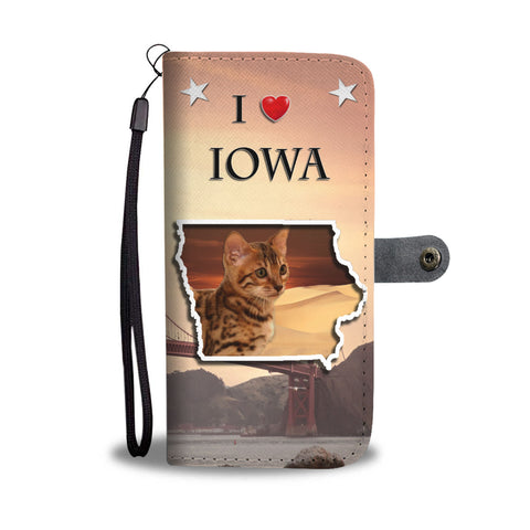 Cute Bengal Cat Print Wallet CaseIA State