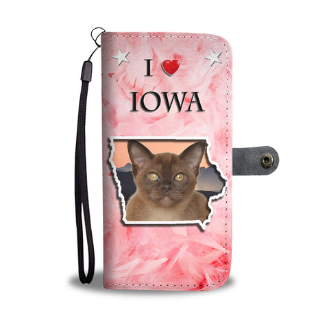 Lovely Burmese Cat Print Wallet CaseIA State
