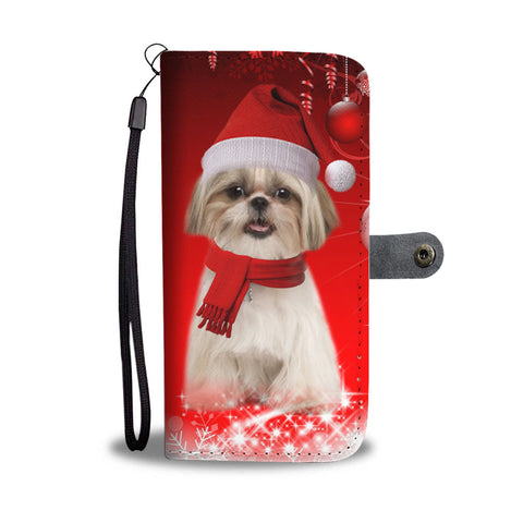 Shih Tzu Dog Red Christmas Print Wallet Case