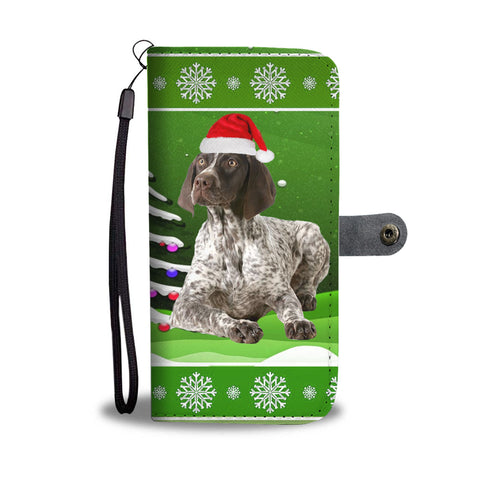German Shorthaired Pointer Christmas Green Print Wallet Case