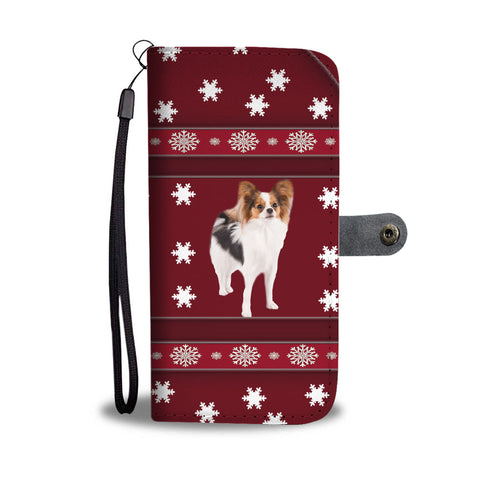 Papillon Dog Christmas Print Wallet Case
