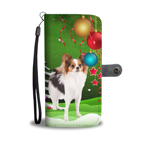 Papillon Dog Christmas Green Print Wallet Case