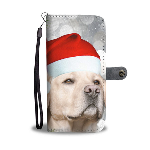 Cute Labrador Retriever On Chrsitmas Print Wallet Case