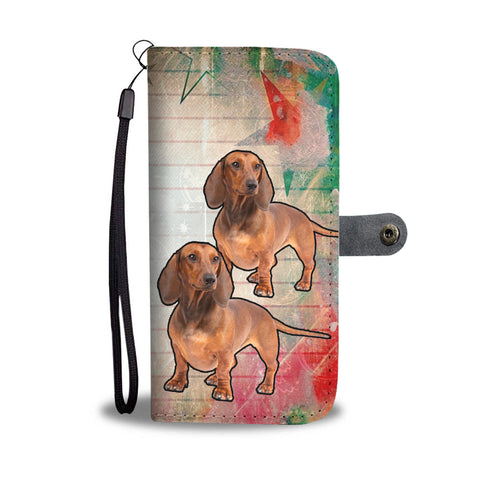 Cute Dachshund Dog Christmas Print Wallet Case