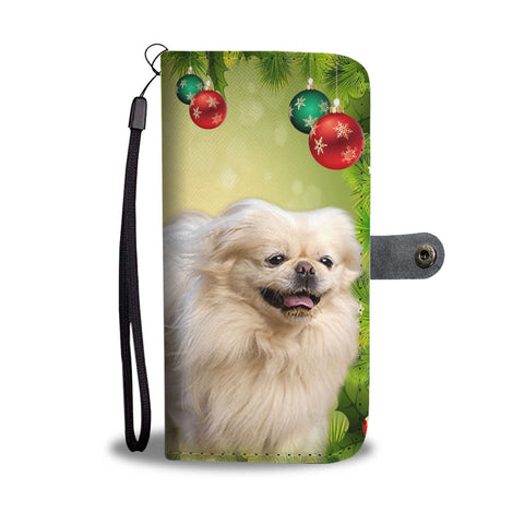 Pekingese Dog On Christmas Print Wallet Case