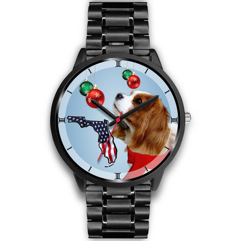 Cavalier King Charles Spaniel On Christmas Print Wrist WatchFL State