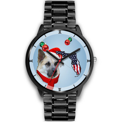 Chinook Dog On Christmas Florida Wrist Watch