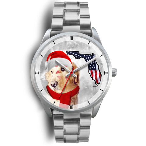 Golden Retriever On Christmas Florida Silver Wrist Watch