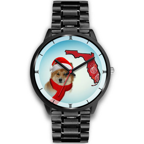 Icelandic Sheepdog On Christmas Florida Wrist Watch